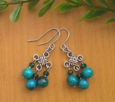 Azurite Chrysocolla Gemstone On Chinese Lucky Knot Dangle Earrings ~ Feng Shui