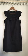 J. Crew Tall Ruffle Neck Shirt Shift Dress Black Solid Size 6 Small