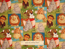 Jungle Babies Baby Nursery Animal Patch Cotton Fabric Traditions - Yard
