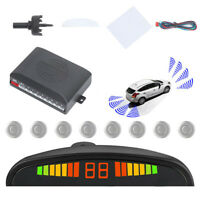 Silver Front and Rear 8 Sensors Car Reverse Parking Kit LED Buzzer Alarm