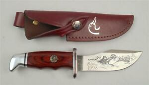 "DUCKS UNLIMITED 1998 FIXED BLADE "" BUCK "" HUNTING KNIFE WITH LEATHER SHEATH"