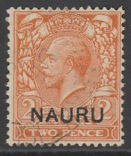 More details for sg 4 nauru 1916-23 2d orange. variety short leg n. very fine used