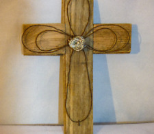 Hand-made Wooden Cross with Metal Accents