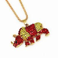 Betsey Johnson Women's Rhinestone Cute Rhinoceros Pendant Sweater Chain Necklace