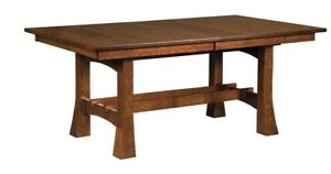 Amish Arts & Crafts Trestle Dining Table Solid Wood Rectangle Jackson