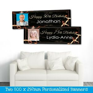 2 PERSONALISED BLACK CELEBRATION PHOTO BANNERS - ANY NAME - ANY AGE