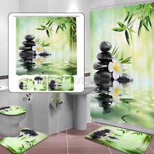 1/3/4Pcs Waterproof Bamboo Bathroom Shower Curtain Non-Slip Toilet Rug Cover Mat