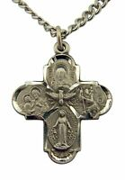 Pewter Four-Way Scapular Cross Pendant with Bright Cut Accents, 13/16 Inch