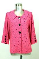 womens hot pink square print ANDRIA LIEU textured knit blazer jacket career L