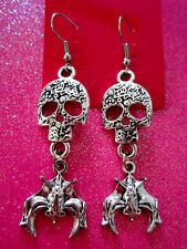 Skull & Vampire Bat Dangle Earrings
