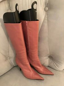 Deep Pink Italian Leather Dress Boots