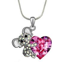 "Crystal Koala Teddy Bear Pink Heart  Pendant Necklace 17"" Chain Fast Shipping"