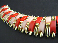 VINTAGE CORO WIDE BRACELET GOLD TONE PINK THERMOSET