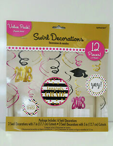Amscan Graduation Swirl Decorations Party 12 Pieces 670747