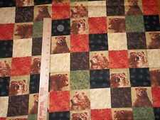 Yukon Bear Patchwork Square Cheater Quilt Exclusively Quilters Cotton Fabric 1yd
