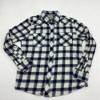 Roebuck & Co Button Up Shirt Mens L Blue Cream Pearl Snap Flannel Plaid Pockets