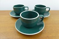 Vintage Sasaki Colorstone (3) Cups & Saucers - Hunter Green - Vignelli Designs
