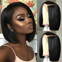 US Stock Lace Front Human Hair Wigs Bob Straight Brazilian Pre Plucked Wigs