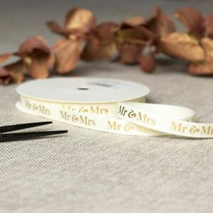 Mr & Mrs Cream Gold Wedding Ribbon   Favours Gift Wrapping Craft Grosgrain 20m