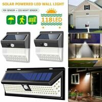 118 LED Solar Power PIR Wall Lights Garden Outdoor Motion Sensor Security Lamp