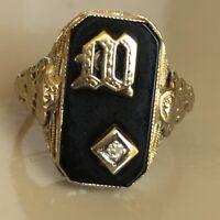 "Antique Art Deco ""M"" Ring White Gold Filigree Onyx Diamond 14k Size 6.75"