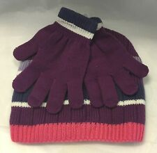 Girls Knit Beanie Hat and Glove Set Purple Striped Fits Size 8-18 Acrylic