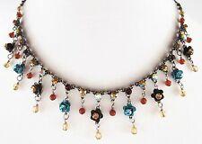 £40 Boho Silver Turquoise Brown Flower Charm Necklace Swarovski Elements Crystal