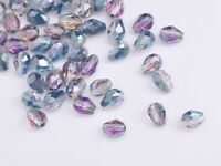 Bulk 100pcs 5X3mm Teardrop Faceted Crystal Glass Loose Spacer Beads Rose Green
