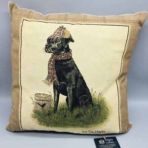 """Hines of Oxford SIR LANCELOT LABRADOR Tapestry Feather Pillow Black Lab 18"""" NEW"""