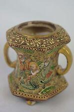 """Great Antique Satsuma Japan Crackled Glaze handled vase (no lid)5"""" [Y8-W6-A9]"""