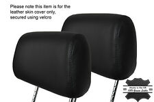 BLACK STITCH 2X FRONT HEADREST LEATHER SKIN COVERS FITS BMW 3 SERIES E36 92-99