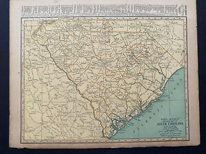 "S. CAROLINA / R. ISLAND Rand Mcnally & Co 1927 Map Print 14"" x 11"" Prem. Edition"