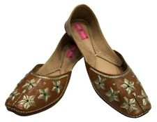US TRIBAL RAJASTHANI WOMEN LEATHER HANDMADE EMBROIDERED SHOE MOJRI KHUSA SS55