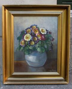 Ingeborg Debois (1897) Pansies in a vase. 1940s. Floral European salon oil.