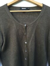 DKNY Linen Cardigan Sweater Brown Womens Size Medium Made in Hong Kong