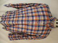 Robert Talbott Carmel Mens Blue Plaid Long Sleeve Linen Shirt L