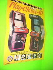Nintendo PLAY CHOICE 10 Original NOS FoldOut Video Arcade Game Flyer Electrocoin