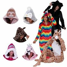 WOMANS 3D ANIMAL HOOD PYJAMAS All-In-One Piece Winter Jump Suit Sleepwear Gift