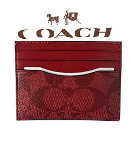 NWT Coach Slim Card Case In Signature Canvas QB/Cherry