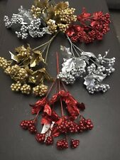 6x Red Gold Silver Berry Bunches Fake Artificial Holly Berries Glitter Christmas