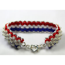 """Sterling Silver .925 """"I Love the USA"""" Bracelet with SP Heart Clasp"""