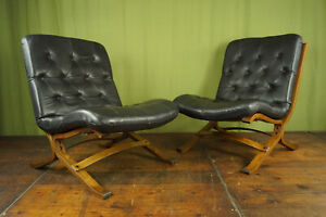 60er Vintage Armchair Retro Leather Relax Easy Lounge Westnofa Rykken Age 1/2