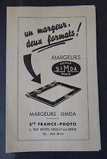 Catalogue publicité Margeur SIMDA France Photo appareil photo catalog Katalog