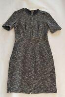 Burberry Black Military Shoulder Front Zip Leather Trim Dress Women UK8 US6 EU36