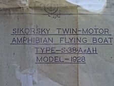 Original Circa 1928 Sikorsky S-38A Flying Boat Blueprint, US Army (only 11 made)
