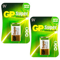 2 x GP Alkaline Super 9V batteries Block 6LP3146 PP3 LR22 MN1604 6LR61 EXP:2021