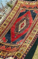 """Exquisite Authentic Antique 1900-1930s Wool Pile Natural Dye Tribal Rug 4'3""""×8'&# 039;"""