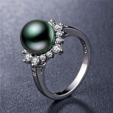 Pretty 925 Silver Jewelry Round Cut Black Pearl Women Wedding Ring Size 7