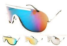 Wholesale 12 Pair Fashion Once Piece Metal Sunglasses with Color Mirror Lens