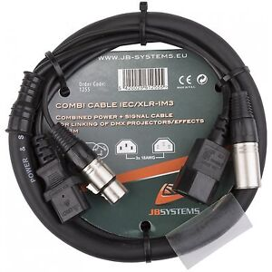 JB Systems Kombikabel Hybrid Strom & DMX IEC XLR Kaltgeräte DJ Lichteffekt DJ